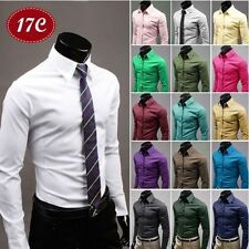 Mens Luxury Stylish Formal Dress Shirts Slim Fit Casual Shirts Long Sleeve Tops