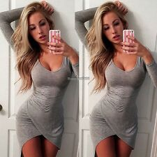 Women Sexy Long Sleeve Bodycon Casual Party Evening Cocktail Short Mini Dress ED