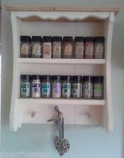 Craftsman handmade shabby chic painted waxed country cabinet spice rack pegs