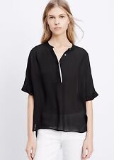 Vince Silk Tipped Cap Sleeve Popover in Black / Off White sz XS  M, L $245