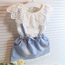 Girl Kids Baby Clothes Summer Outfits Dress Party Flower Sleeveless Strap Outfit