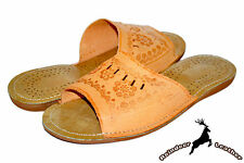 Womens Ladies Tan Natural Leather Open Toe House Slippers Sandal Slides All Size