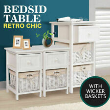 SHABBY WHITE WOODEN CHIC STORAGE BEDSIDE TABLE CABINET UNIT WITH WICKERS BASKETS