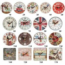 Artistic Silent Creative European Style Round Antique Wooden Home Wall Clock I6