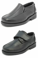 Boys Formal Wedding Slip On School Leather Look Shoes BLACK 10-6.5