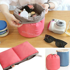 Lady Pouch Bucket Barrel Shaped Cosmetic Makeup Bag Sets Travel Purse Cute Gift
