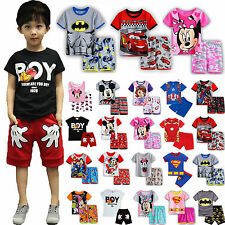 Summer 2PCS Kids Boys Girls Cartoon T-shirts + Shorts Pants Pajamas Outfit Sets