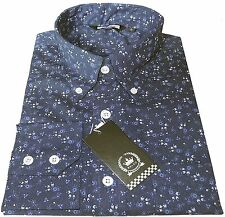 Men's Blue Floral Flowers Button Down Collar Long Sleeved Mod 60's Relco Shirt