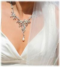 Glam Duchess Vintage Inspired pearl crystal Necklace Earring Bridal Jewelry Set