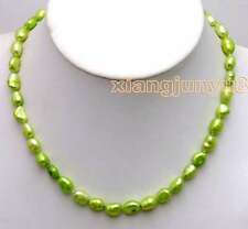 SALE Big 7-9mm Green Baroque natural Freshwater Pearl 17'' Necklace-nec5804