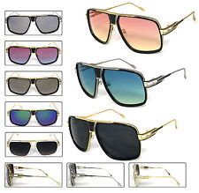 Mens Large Square Aviator Metal Bar Retro Fashion Sunglasses Polyucarbonate Lens
