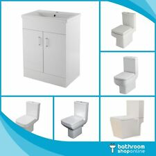 Gloss White 600mm Vanity Unit Close Coupled Toilet Basin Sink Bathroom Cabinet