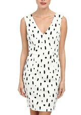 NWT $148 French Connection Polka Spray Dress 8 US White / Black 71DJM