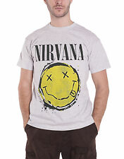 Nirvana T Shirt Classic Smiley Splat Distressed Band Logo Official Mens New Grey