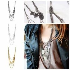 Women  Chic Long Pendant Jewelry Multi-layer Leaf Necklace Sweater Chain
