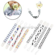 NEW Set of 4 Infant Toddler Baby Pacifier Straps Holders with Plastic Clip Loop