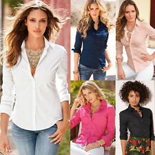 Womens Ladies Slim Fit Long Sleeve Cotton Casual Blouse Shirt Top Stylish Blouse