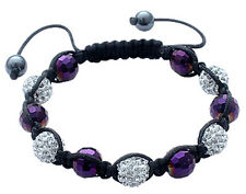 Shamballa Bracelet with CZ Crystal Ball and Glass Stone Beads - FREE Velvet Bag