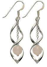 Silver Twirl Earrings with Natural Dangly Stone - FREE Velvet Bag