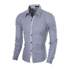 Men's Fashion Luxury Casual Slim Fit  Formal Dress Shirts Long Sleeve 4 Colors