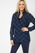 Navy Blue Patterned Lightweight Casual Shirt Blouse Top Ex-Branded Size 8-18 New