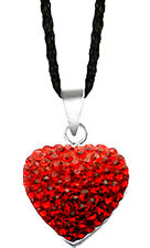 Silver Heart Pendant Comes w/ Silk Cord Necklace & CZ Crystal - FREE Velvet Bag