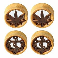 Saddle Plugs Ear Gauge Tunnel 4-Pieces Kit Stretching Set Natural Wood 12mm-30mm
