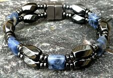 Men' Woman's CLASP Magnetic Hematite BRACELET ANKLET w Blue Sodalite QUICK SHIP