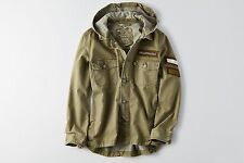 NWT American Eagle Women's PATCHED UTILITY JACKET Coat Olive - S, M