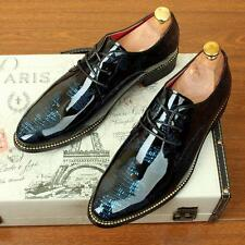 Mens dress shoes patent leather pointed toe European lace-up brogues Plus size #