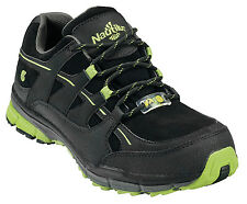 Nautilus Womens Steel Toe ESD Athletic M Black/Lime Nubuck Leather Shoes