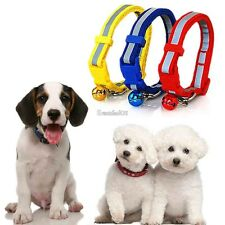 HOT Pet Dog Puppy Cat Kitten Soft Glossy Reflective Collar Safety Buckle & Bell