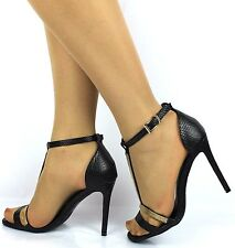 Ladies Stiletto Ankle Cuff Strap Womens High Heel Strappy Sandals Peep Toe Shoes