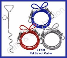Dog Pet Puppy Steel Spiral Stake pole and 6 ft. tie out cable / Lead /Leash wire