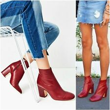ZARA Woman BNWT Authentic Red High Heel Leather Ankle Boots W Toe Cap 6126/101