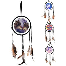 Handmade Dream Catcher With Feathers Wall Hanging Decoration Ornament-Wolf liau