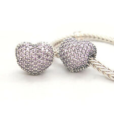 Authentic S925 Sterling Silver Pavé Open My Heart, Pink CZ CLIPS CHARM BEAD