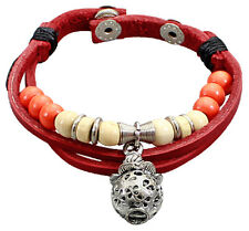 Double Red Leather Bracelet and Cord with Silver-Toned Guava Charm Mix Beads