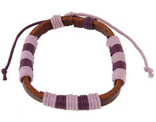 Nice Bracelet Made of Leather with Polyester Cord - FREE Velvet Bag