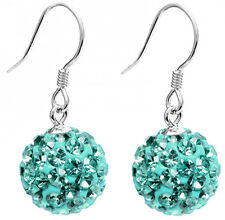 Silver Dangle Shamballa Ball Earrings with CZ Crystals - FREE Velvet Bag
