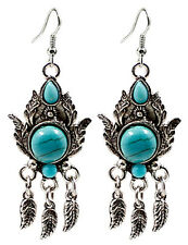 Hand Made Silver Plated Antique Style Dangle Earrings with Turquoise Stone