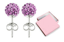 925 Sterling Silver Stud Earrings Crystal Ball (9 Colours) 6mm-10mm FREE GiftBox