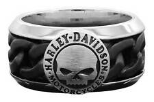 Harley-Davidson Men's Black Steel Chain Willie G Skull H-D Ring HSR0030