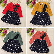 2017 Fashion Baby Girl Clothes Autum Long Sleeve Party Dress Tutu Tshirt Dresses