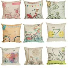 Colorful Bicycle Pattern Linen Pillow Case Sofa Throw Cushion Cover Home Decor