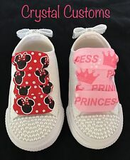 Infants Bling Customised Pearl Character White Converse Size 2 3 4 5 6 7 8 9 10