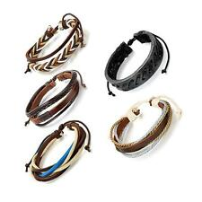 2pcs Multilayer Braided Leather Cord Adjustable Womens Mens Bracelet Wristband