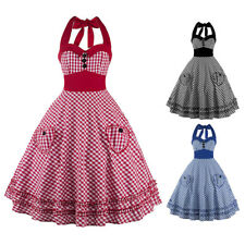 Vintage Rockabilly Plaid Prom Swing 50s 60s Pinup Housewife Cocktail Party Dress