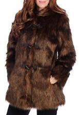 NEW - Pamela McCoy Shaggy Faux Fur Long Sleeved Toggle Front Hooded Coat