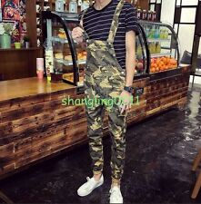 Mens Camo Slim Fit Pants Suspender Trousers Overalls Skinny Jeans Stylish Pants
